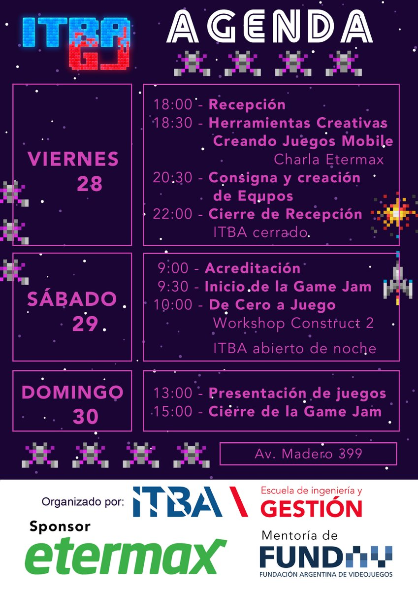 ITBA Game Jam agenda